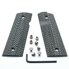1911 G10 grips SLIM Magwell  BlackGray + Silver stainless Star Torx grip screws