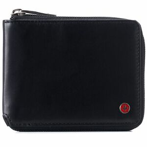 Alpine Swiss Mens Womens RFID Blocking Zipper Wallet Leather Zip Around Bifold