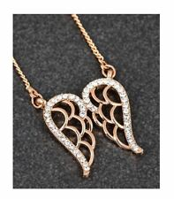 Equilibrium Rose Gold Plated Guardian Angel Wings Necklace diamante decor