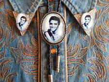 NEW  ELVIS PRESLEY BOLO TIE & COLLAR TIPS SILVER METAL, LEATHER CORD ROCKBILLY