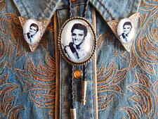 Nuevos de Elvis Presley corbata de Bolo & Collar Puntas De Metal De Plata, El cordón de cuero Rockbilly