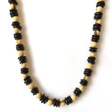REAL COCONUT SHELL BLACK WHITE SURF STYLE NECKLACE COCO DISCS ACAI SEEDS NATURAL