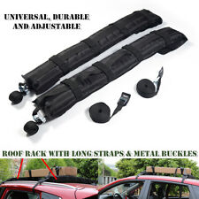 2Pcs Car Inflatable Roof Rack Soft Self Luggage Carrier w/ Rope Black Universal