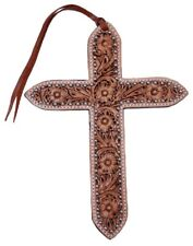"""Large 11"""" x 8"""" Floral Tooled Leather Cross Tie On w/ Accent silver beads Horse"""