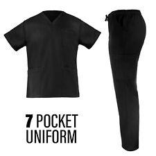 High-Quality Black 7-Pocket Male Medical/Nurse Uniform Set