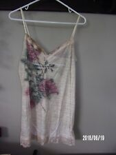 Maurices womens ladies large tank crinkle cami,  ivory w/ floral design NEW TAG