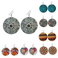 Wooden Round Flower Earrings Colorful Ear Stud Dangle Jewelry Drop Ethnic S Q2N7
