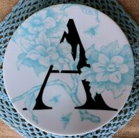 Anthropologie GRACE Monogram  ~ A ~ Trinket Dish Dessert Plate NEW with Tag NWT