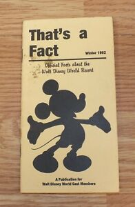 "Disney ""That's a Fact"" Winter 1992 Official Publication Booklet For Cast Members"