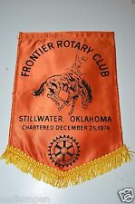 RARE Vintage Stillwater Okalahoma Frontier Rotary International Club Banner Flag