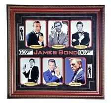 JAMES BOND 8X10 COLLAGE FRAMED 007 CONNERY MOORE UN AUTOGRAPH CRAIG BROSNAN