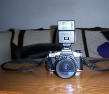 Pentax Program Plus 35mm SLR Film Camera, Takumar 1: 3.5-4.5 Lens, and Flash