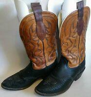 Vintage Tony Lama El Paso Boots Western Cowboy 2 Tone Brown Black 4962 Men's