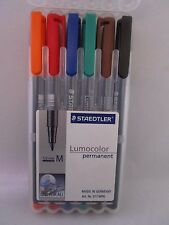 Staedtler Lumocolor Permanent Broad Universal Marker Pens 2 PACK OF 6 =12 pc