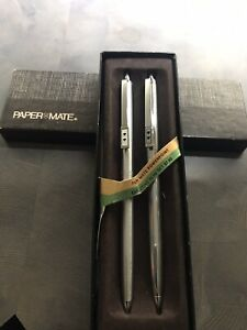 VINTAGE PAPER MATE POWERPOINT TWO HEART EXECUTIVE SLIM PEN AND PENCIL SET New