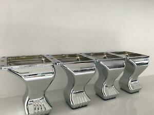 4x CLASSIC DESIGN CHROME FEET / LEGS FOR SOFA, BEDS, CHAIRS, STOOLS, TABLE