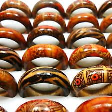 50pcs Wooden Finger Rings Women Men Wood Leopard Print Mixed Jewelry Lots Gift
