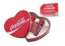 NEW UNUSED Lip Smacker Coca Cola Flavoured Lip Balm Heart Tin - 3 glosses