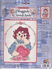 New JANLYNN CLASSIC RAGGEDY ANN & ANDY I Love You CROSS STITCH KIT 77-101
