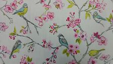 Clarke and Clarke Birdies Pink Designer Curtain Upholstery Craft Fabric
