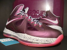 NIKE LEBRON X+ 10 SPORT PACK CROWN JEWEL BORDEAUX FIREBERRY PINK 542244-600 8.5