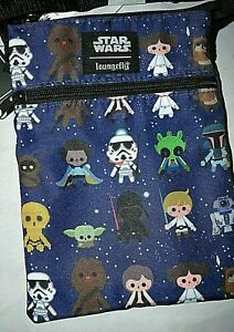 New with tags Loungefly Star Wars Chibi Character Print Passport Crossbody Bag