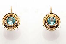 Antique 1930s ART DECO 2ct Natural Blue Zircon 10k Gold Screwback Earrings