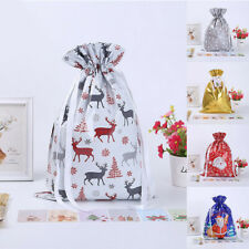 Large Christmas Gift Bag Drawstring Xmas Party Candy Bags Cookie Wrapping Pouch