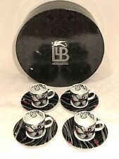 Royal Worcester Llewellyn-Bowen 4 x Coffee Cups & Saucers Presentation Box Black