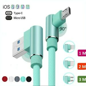 90° Elbow Fast USB Type C Charger Cable For Samsung S9 S10e S8 Plus Note8 9 1-3M