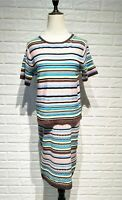 UK Women Ladies Striped Knitted Cami Top With Skirt Suit 2 Pieces Set