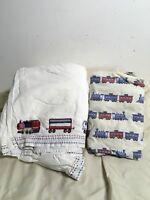 Pottery Barn Kids TRAIN Railway Express Crib Skirt Train Sheet  embroidered