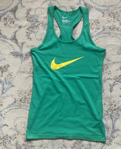 Green Nike Slim Fit Racer Back Exercise Vest Size M (12-14)