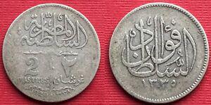 EGYPT , 2 PIASTRES SULTAN FUAD I 1920  ( CZ.21 ) ONE YEAR TYPE ,  RARE