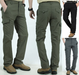 Men Tactical Work Cargo Pants Combat Fast Dry LightWeight Cargo Hiking Trousers