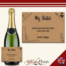 L146 Personalised Teacher Thank You Craft Paper Prosecco Custom Bottle Label