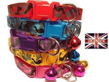 Cat Puppy Pet Collar Adjustable Kitten Bell Colourful Nylon Camo 19-32cm