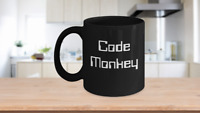 Coder Mug Black Coffee Cup Funny Gift for Programmer Data Computer Java Script