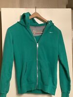 Womans Nike Athletic Hoodie Green Full Zip Up Size Small Sporty With Pockets