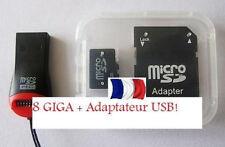 Carte Micro SD 8 Go + adaptateur USB !