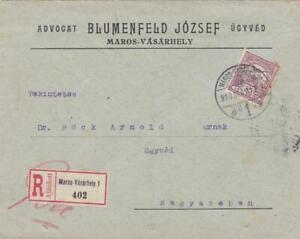 HUNGARY 1923 REGISTERED  COVER MAROS VASARHELY 1