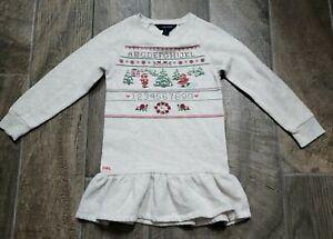 Ralph Lauren Girls Ivory Christmas Sweater Dress Size 6