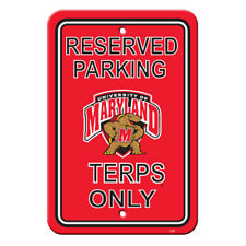 """MARYLAND TERRAPINS TERPS PLASTIC PARKING SIGN 12"""" X 18"""" NCAA"""