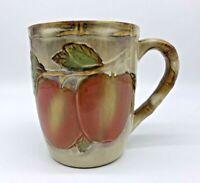 Vintage Embossed Apple Ceramic Brown Coffee Mug / Cup Tableware