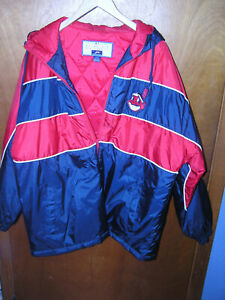 MLB Cleveland Indians  jacket L GUC  with hood