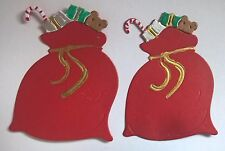 6 x DIE CUT ASSEMBLED&HAND FINISHED SANTA SACKS/TOYS FOR CHRISTMAS CARD TOPPERS