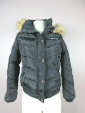 BEBE Size 10/12 Women's Black Down Full Zip Hooded Faux Fur Jacket 191