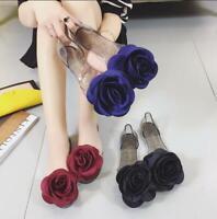Women Summer Pull On Jelly Peep Toe Flower Decor Flats Heel Casual Pumps Shoes