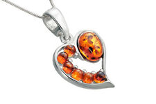 Sterling Silver 925 Heart Love Pendant Genuine Baltic Amber Jewellery Jewelry
