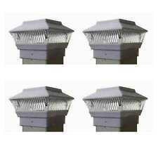 (Set of 4) Solar White Color Square PVC Post Caps Fence Mount 4 x 4 - PL244W